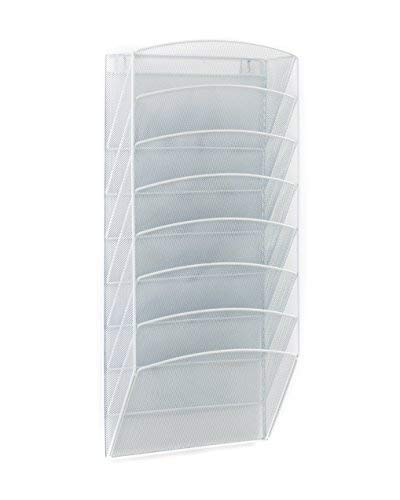 Klickpick Office 8 Sections Hanging Files Wall Mounted Metal Mesh File Document Organizer Magazine Holder Rack Organizer Racks Multipurpose Use to Display Files, Magazine, Newspapers- White