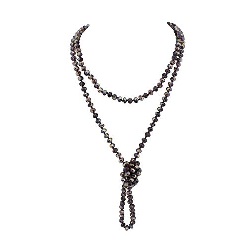 Firstmeet Fashion Glass Beads Rope Knot Long Necklace for Women (Purple AB)