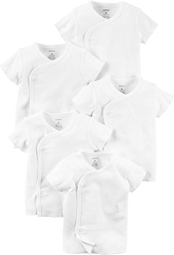 Carters Unisex Baby 5-Pack Short Sleeve Side Snap Tee, White, NB