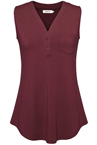 Tunics for Women,Bepei Tank Tops Summer Casual Plus Size V Neck Button Maroon XL