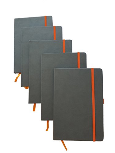 ImpecGear Classic Notebook/Writing Journal 5.5 x 8.25 Black Gray Orange Free Pen (Pack of 5, Gray/Orange) by ImpecGear