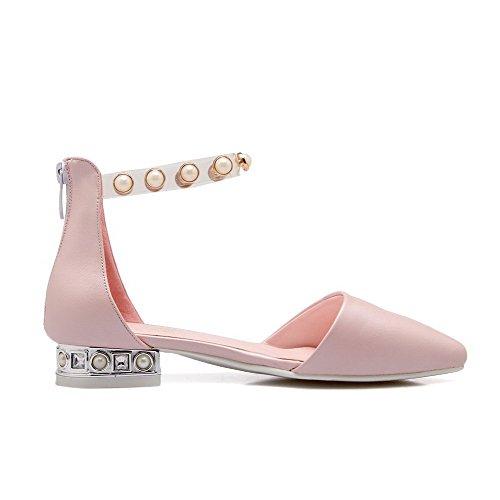 AmoonyFashion Womens Soft Material Closed Toe Low Heels Zipper Solid Sandals Pink nOQXml6b