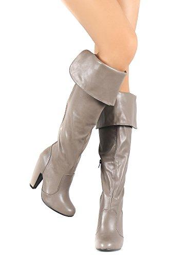 Heeled Elastic Boots Chunky High Soho Taupe Women's Cuff Knee Bamboo Gore Love xwHq0Iv6
