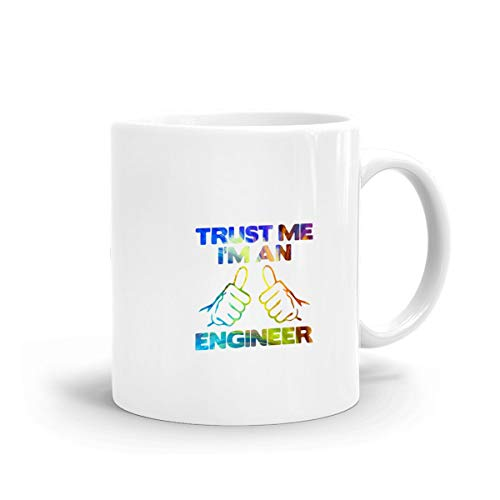 Rainbow Trust Me, I'm an Engineer Mug, Ceramic White Travel Mug with C-Handle Coffee Drink Container for Office -