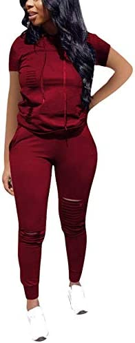 KUBAO Women 2 Pieces Outfit Solid Color Sweatsuit Short Sleeve Long Sleeve Hoodie Long Pants Tracksuit