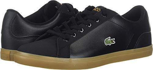 Lacoste Unisex Lerond Sneaker, Black/Gum, 4.5 Medium US Big Kid (Lacoste For Kids Boys Shoes)