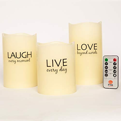 LIVE LAUGH LOVE Flameless Candles by FVM - Flickering LED Lights - Home Decor Relaxation and Stress Reduction Gifts - Living Room Kitchen and Bedroom Decoration Ideas - Safe for Kids and Pets (Room Dinner Ideas Living)