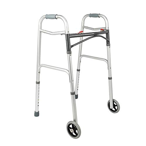 Mefeir Easy Folding Rolling Arc Rod Walker w/Front Wheels-Safety Mobility Aid for Adult, Senior, Elderly&Handicap, Lightweight, Portable, Adjustable Height, Ultra Convenient by Mefeir