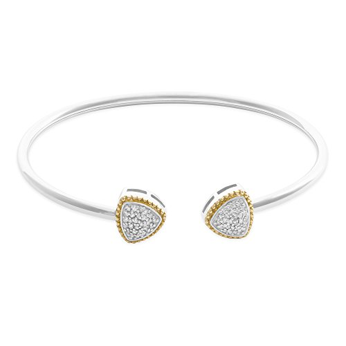 - 1/5 CTTW White Diamond (IJ/I213) Triangle Design Bangle Set In Sterling Silver With Gold Plated 7
