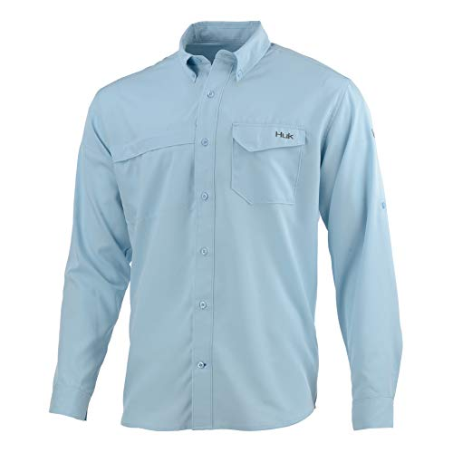 - Huk Men's Tide Point Woven Solid Long Sleeve Shirt, Ice Blue, X-Large