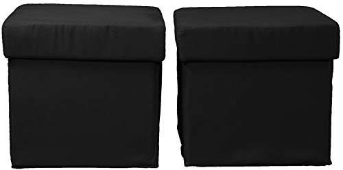 Epic Furnishings 2 Piece Foldable with Two Tray Tops Storage Ottoman/Table and Bench Set, Suede Ebony Black