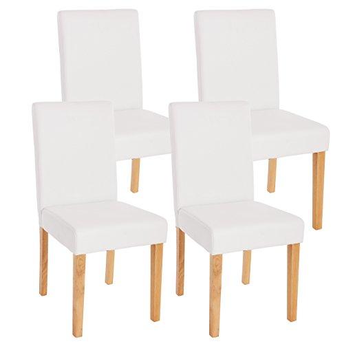 4x Esszimmerstuhl Stuhl Lehnstuhl Littau ~ Kunstleder, weiß matt, helle Beine