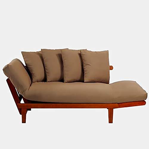 Cotton Futon with 4 Toss Pillows - Sofa with Wood Frame and Mattress - Oak/Khaki