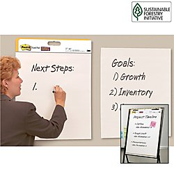 Post-it Super Sticky Easel Pad, 25 x 30 Inches, 30 Sheets/Pad, 2 Pads (559 STB), Large White Premium Self Stick Flip Chart Paper, Rolls for Portability, Hangs with Command (Sticky Self Stick Easel Pads)
