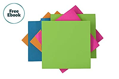 Sticky Notes 3x3 Super self-Stick neon Assorted Colors | 24 Pads 70-Sheets/pad Jumbo Pack/Bulk/Colorful Post Notes/Double Sticking Power