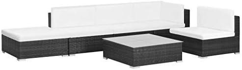 Wakects Conjunto Muebles de Jardín de Ratán,Set Muebles de jardín 6 Piezas y Cojines ratán sintético Negro: Amazon.es: Hogar