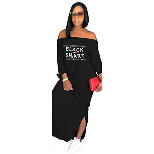 Miiyana Womens Off Shoulder Letter Print T Shirt Dress Summer Short Sleeve Tunic Dress (Black-1, Large)