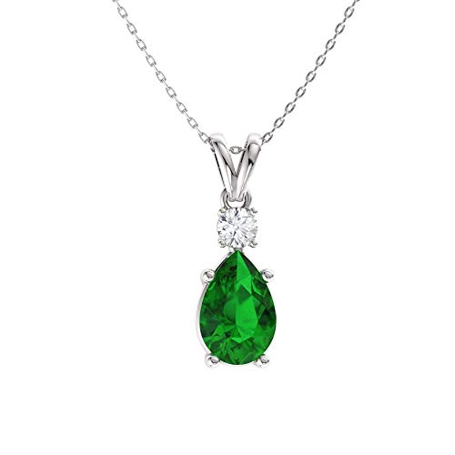 (Diamondere Natural and Certified Pear Cut Emerald and Diamond Drop Petite Necklace in 14k White Gold | 0.39 Carat Pendant with Chain)