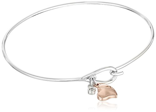 Plated Bronze Two Tone Heart Charm Bangle Bracelet, 7.25