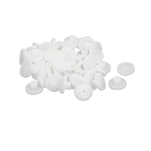 uxcell 50Pcs 30+12 Teeth 16mmx7.5mm Plastic Gear Wheel for DIY Assemble RC Toys by uxcell