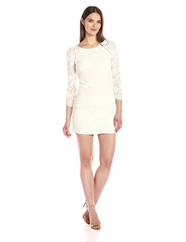 AX-Armani-Exchange-Womens-Zip-Detail-Lace-Scallop-Above-The-Knee-Woven-Dress