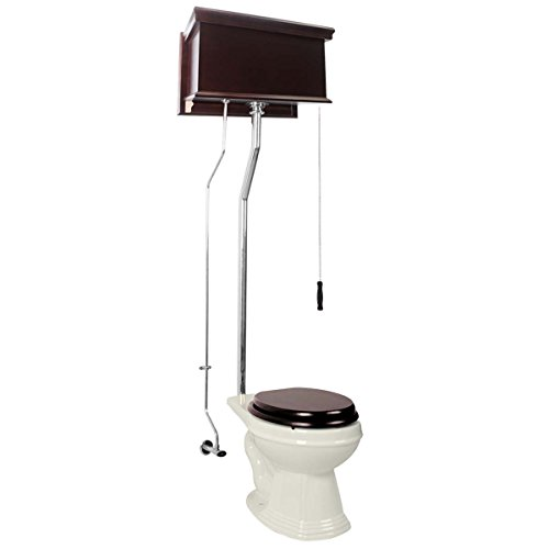 Dark Oak High Tank Pull Chain Toilet With Elongated Biscuit Toilet Bowl And Chrome Finish Pull Chain Toilet