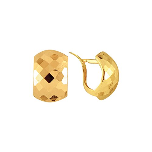 14k Yellow Gold Sunggable Square Pattern Earring Lever-back Clasp 14k Yellow Gold Pattern