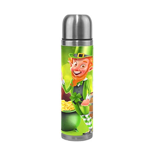 - AHOMY 17 Ounce Stainless Steel Flask St. Patrick's Day Elf Gold Shamrock Vacuum Insulated Bottle Leak-Proof PU Leather Travel Mug
