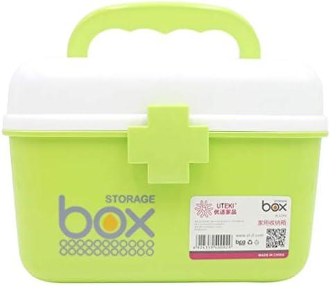 救急箱 薬箱 薬ケース お薬 箱 家庭用 収納ケース 応急ボックス 薬入れ 収納ボックス 小物入れ 整理ポーチ 二段式 大容量 取っ手付き 持ち運びしやすい 道具箱 21*16.5*15cm ピンク グリーン ブルー