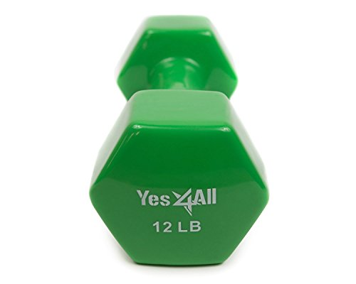 Yes4All PVC Coated Dumbbells (Single), 12 lb