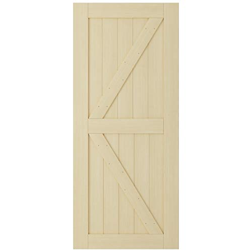 SmartStandard 36in x 84in Sliding Barn Wood Door Pre-Drilled Ready to Assemble, DIY Unfinished Solid Cypress Wood Panelled Slab, Interior Single Door Only, Natural
