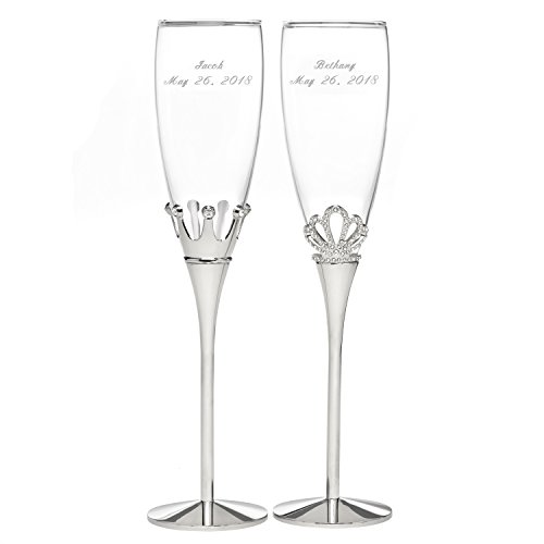 Personalized Royal Pair King and Queen Champagne Flutes - Canopy Street - Custom Engraved Set of 2 (11344P) Rhinestone Champagne Flutes