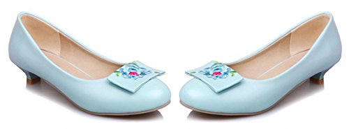 Aisun Round Low Wear On To Womens Embroidered Flower Work Blue Shoes Toe Cut Stylish Slip Pumps Dressy IwvY1rqI