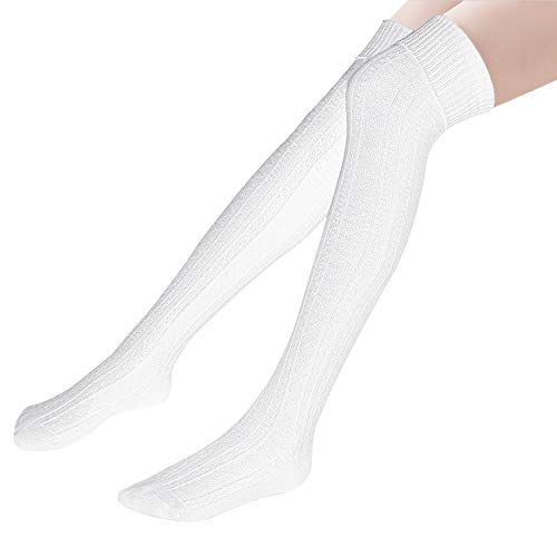 Hippih Womens Winter Over Knee Leg Warmer Crochet Thigh High Boot Socks Girls Leggings(White)
