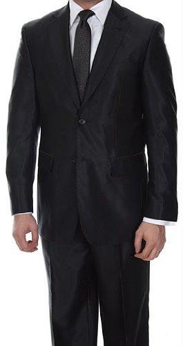 Elegant Black Two Button Shinny (Shark Skin) Slim Fit Suit (38 Short), Bags Central