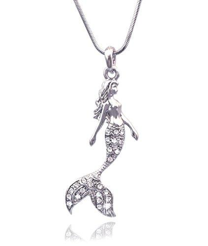 cocojewelry Mermaid Pendant Necklace Jewelry (Clear) -