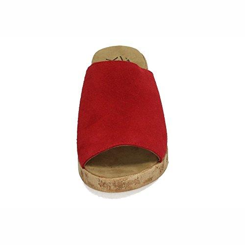 V18 Madera Aback Mujer Zuecos 1223 Tacón Rojo De Sandalias UAdIqTdx