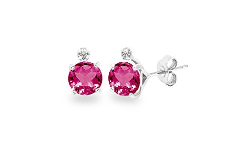 Diane Lo'ren 2.03 CTW Genuine Diamond & Gemstone Stud Earrings (Created Pink Tourmaline) (Created Diamond Earings)
