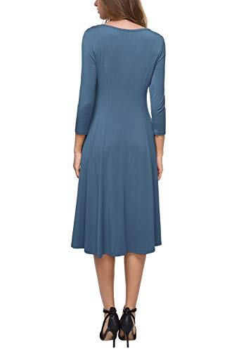 Robe 4 S Longue XL Rond Col 3 Casual Tunique Robe Clair BaiShengGT Manches Bleu Femme Uni Mi Iwq8xnvH