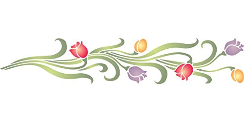 """Stencil Border Flower - Tulip Stencil - (size 12""""w x 2.5""""h) Reusable Wall Stencils for Painting - Best Quality Wall Border Flower Stencil Ideas - Use on Walls, Floors, Fabrics, Glass, Wood, Terracotta, and More…"""