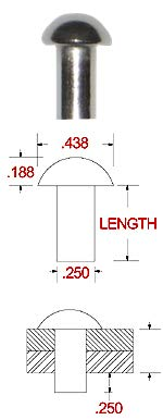 Plain Finish, 1//4 Dia Pack of 1//2 lb - Approximately 40 Pieces X 1//2 Length Stainless Solid Round Head Rivet