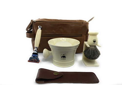 GBS Men's Deluxe Grooming Set Dopp Kit Ivory Fusion Razor & Case, Badger Bristle Shaving Brush & Stand, Wide Ceramic Mug, Leather Toiletry Bag + Natural Shave Soap & Blade Best Wet Shaving Christmas