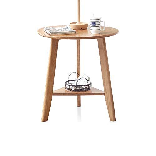 JIA Xing Mesa de cafe, Simple de Madera Maciza de Doble Capa Pequeno Mesa Mesa Lateral Mesa Redonda Pequeno Tabla Sala de Estar casera de cafe Mesa de Centro