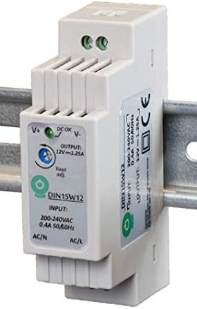 POS profesional Carril Fuente Transformador LED 24V DC 0,63A 15W, constante, CE, protección de cocinas: cortocircuito, de tensión. Productos para LED 24V DC,