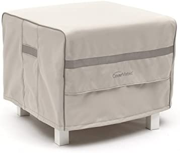 Covermates Square Ottoman Cover 26W x 26D x 25H Prestige 900D Polyester Front Back Covered Vents Reinforced Handles 7 YR Warranty Weather Resistant – Stone