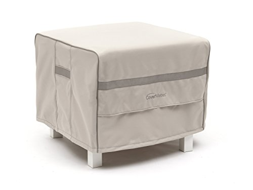 CoverMates – Square Ottoman Cover – 26W x 26D x 25H – Prestige Collection – 7 YR Warranty – Year Around Protection- Stone by CoverMates