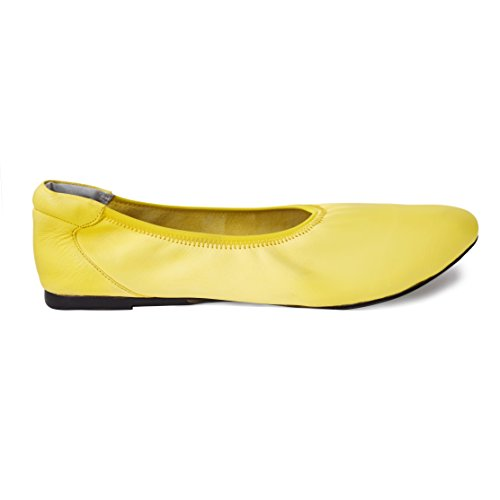 Cocorose Foldable Shoes - Bloomsbury Ladies Leather Ballet Pumps - Yellow - Size (Bloomsbury Leather)