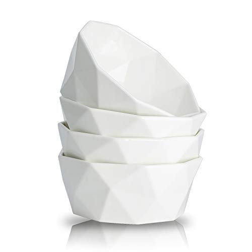 34-Ounce Porcelain Bowl Set for Cereal, Salad and Desserts, Set of 4,White,by HITFUN