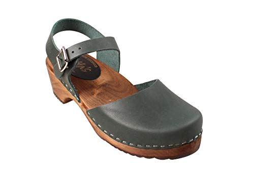 Lotta From Stockholm Swedish Low Wood Clogs in Dark Green on Brown Base- 42 ()