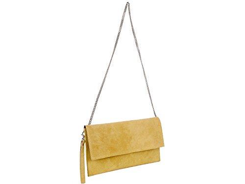 scarlet bijoux - Cartera de mano de Ante para mujer one size Amarillo - amarillo